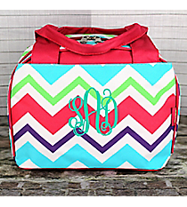 Multi-Chevron Insulated Bowler Style Lunch Bag with Hot Pink Trim  #HJQ255-H/PINK