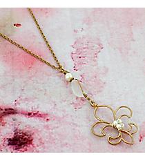 "16"" Goldtone and Pearl Fleur de Lis Necklace #0014N-WG-IV-FDL"