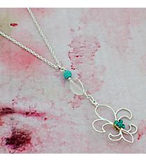 """16"""" Silvertone and Turquoise Fleur de Lis Necklace #0014N-WS-TQ-FDL"""