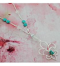 """30"""" Silvertone and Turquoise Fleur de Lis Necklace #0015N-WS-TQ-FDL"""