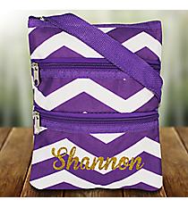 Purple and White Chevron Crossbody Bag #003-165-AP/W