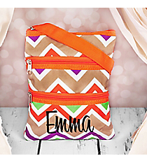 Lime Green and Khaki Chevron Hipster with Orange Trim #003-171