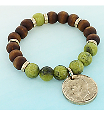 Antique Goldtone Coin Charm Lime and Wood Bead Stretch Bracelet #0076B