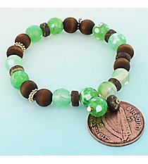 Antique Copper Coin Charm Green and Wood Bead Stretch Bracelet #0077B