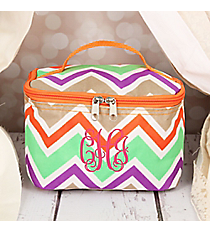 Lime Green and Khaki Chevron Case with Orange Trim #008-171