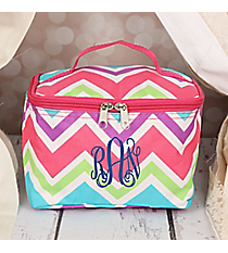 Pink and Light Blue Chevron Case with Pink Trim #008-173