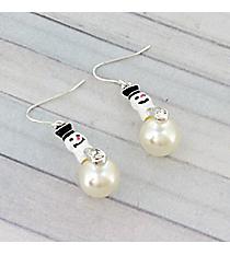 Silver and Pearl Snowman Earrings #0148M-ASPL