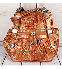 SALE! Golden Orange Croco Buckle Handbag #1490-Q121-TAN