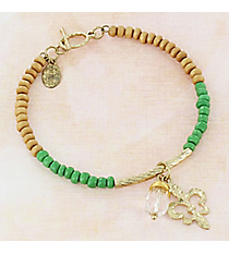 Goldtone Fleur de Lis and Crystal Green and Wood Beaded Toggle Bracelet #0269B