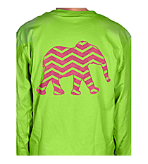 Chevron Elephant Long Sleeve Ladies Relaxed T-Shirt