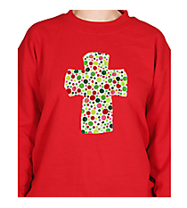 Frayed Cross Applique Heavy-weight Crew Sweatshirt *Customizable!