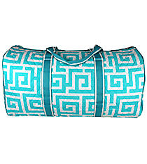"21"" Light Aqua Greek Key Quilted Duffle Bag #UHA2626-L/AQUA"