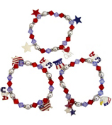 One Patriotic Charm Stretch Bracelet #STR-USA-Assorted