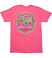 Itsa Girl Thing Chevron Elephant Azelea T-Shirt #10047-SSAZ *Choose Your Size