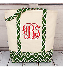 Canvas Shoulder Tote with Dark Green Ikat Trim #10182-GREEN