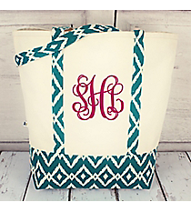 Canvas Shoulder Tote with Turquoise Ikat Trim #10182-TURQ