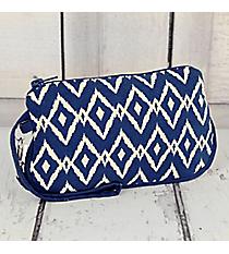 Royal Blue Ikat Cotton Wristlet #10206-ROYAL