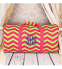 "Fuchsia and Lime Green Chevron 22"" Duffle Bag #1022-165-F/G"