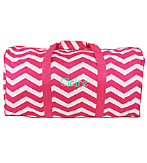 "Fuchsia and White Chevron 22"" Duffle Bag #1022-165-F/W"