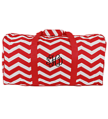 "Red and White Chevron 22"" Duffle Bag #1022-165-R/W"
