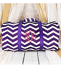 "Purple and White Chevron Duffle Bag 22"" #1022-165-AP/W"
