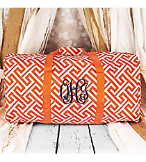 "Orange and White Greek Key Maze Duffle Bag 22"" #1022-185-OR/W"