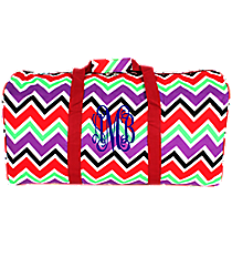 "Red and Purple Chevron 22"" Duffle Bag with Red Trim #1022-170"