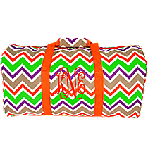 "Lime Green and Khaki Chevron 22"" Duffle Bag with Orange Trim #1022-171"