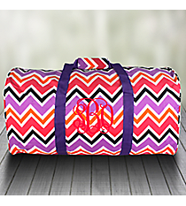 "Purple and Fuchsia Chevron 22"" Duffle Bag with Purple Trim #1022-172"