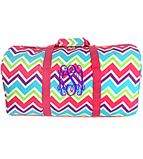 "Pink and Light Blue Chevron 22"" Duffle Bag with Pink Trim #1022-173"