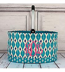 Turquoise Ikat Collapsible Market Basket #10255-TURQ