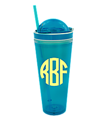 Blue 24 oz. Double Wall Snack Tumbler with Straw #10654-BLUE
