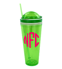 Green 24 oz. Double Wall Snack Tumbler with Straw #10654-GREEN