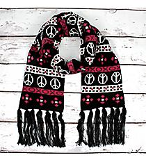 Black and Fuchsia Peace & Love Knit Scarf #11001