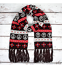 Brown and Red Peace & Love Knit Scarf #11002