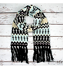 Black, Light Blue, and Cream Chevron Cross Knit Scarf #11006