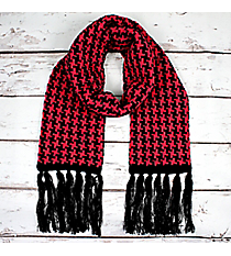 Pink and Black Houndstooth Knit Scarf #11011