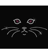 "Dazzling ""Cat Face"" 7.25"" X 2.75"" Rhinestone Applique Iron-On #11723"