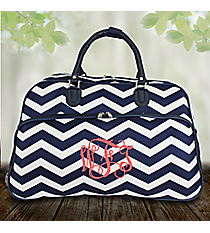 "21"" Navy and White Chevron Rolling Duffle Bag #T12022-165-N/W"