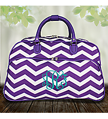"21"" Purple and White Chevron Rolling Duffle Bag #T12022-165-AP/W"