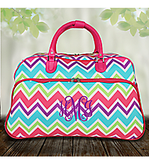 "21"" Pink and Light Blue Chevron with Pink Trim Rolling Duffle Bag #T12022-173"