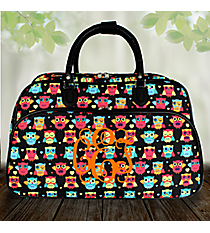 Neon Owls and Hearts Black Large Bowler Bag #F2014-175