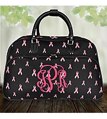 Black with Pink Ribbons Large Bowler Bag #F2014-618