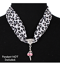 "17"" White Leopard Scarf Necklace #12115"