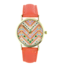 Coral Aztec Chevron Leather Band Watch #13117-CORAL