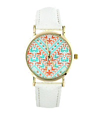 White Aztec Chevron Leather Band Watch #13117-WHITE