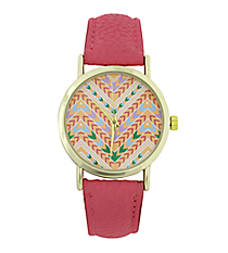 Pink Aztec Chevron Leather Band Watch #13122T-9