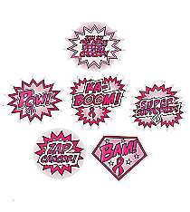6 Breast Cancer Awareness Superhero Word Cutouts #13603833