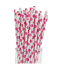2 Dozen Hot Pink Polka Dot Straws #13623086