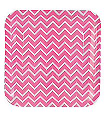 8 Pink Chevron Dinner Plates #13625353